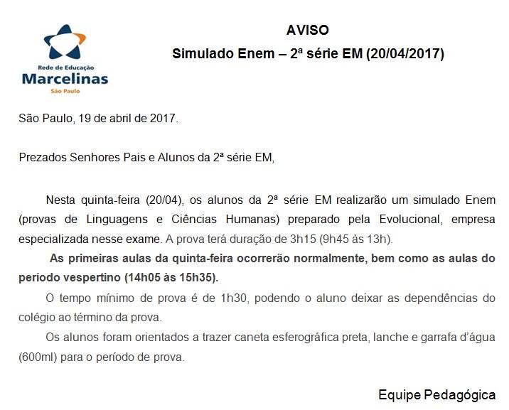 aviso_simulado enem - 2EM